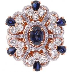 18K Rose Gold 4.91 ct Diamond Sapphire Womens Flower Ring