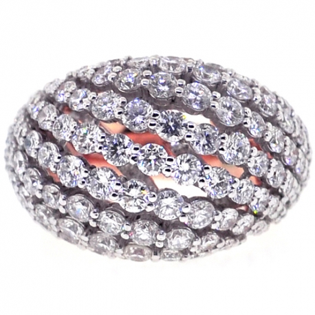 18K Rose Gold 3.61 ct Diamond Womens Dome Ring
