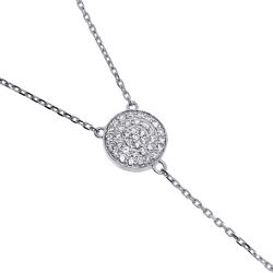 14K White Gold 0.48 ct Diamond Womens Y Shape Necklace 18 Inches