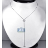 Womens Diamond Lariat Y Shape Necklace 14K White Gold 0.48ct 18""
