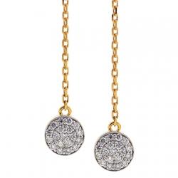14K Yellow Gold 0.54 ct Diamond Womens Long Dangle Earrings