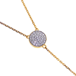 14K Yellow Gold 0.48 ct Diamond Womens Lariat Necklace 18 Inches