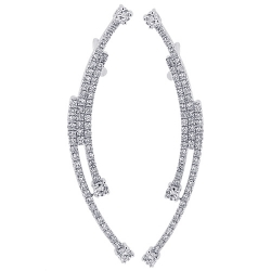 14K White Gold 1.10 ct Diamond Womens Deco Ear Crawlers