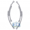 Womens Diamond Deco Ear Crawlers 14K White Gold 1.10 Carat