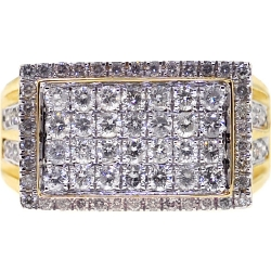 14K Yellow Gold 1.88 ct Round Diamond Mens Pinky Ring