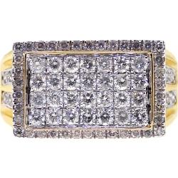 14K Yellow Gold 1.88 ct Round Diamond Mens Pinky Ring