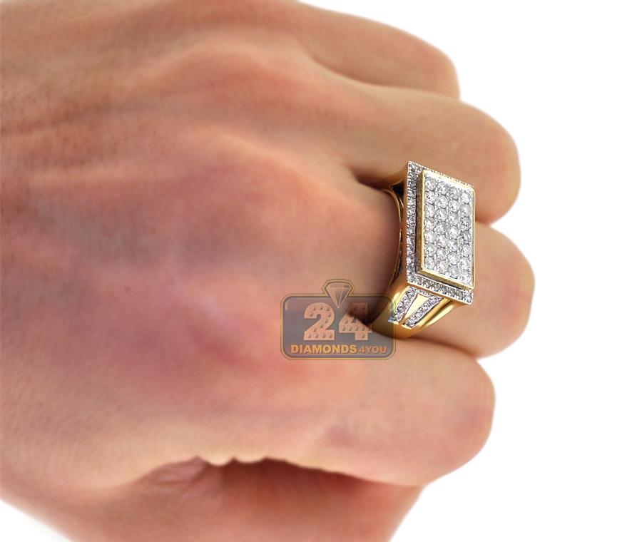 Mens Diamond Rectangle Signet Pinky Ring 14K Yellow Gold 1 88 ct