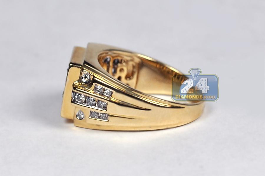 Mens Diamond Rectangle Pinky Ring 14k Yellow Gold 1 09 Carat