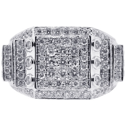 14K White Gold 2.51 ct Round Cut Diamond Mens Ring