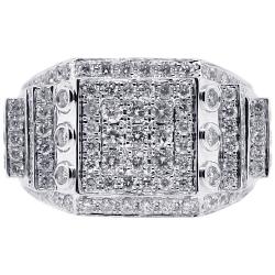 14K White Gold 2.51 ct Round Cut Diamond Mens Ring