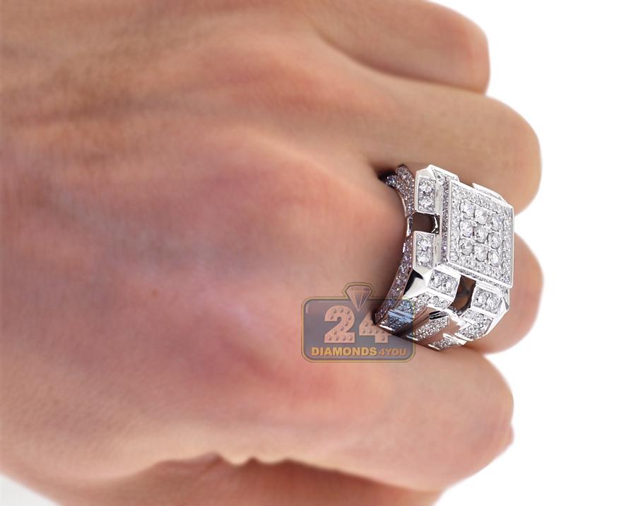 Mens Diamond Large Square Ring 14k White Gold 4 07 Carats