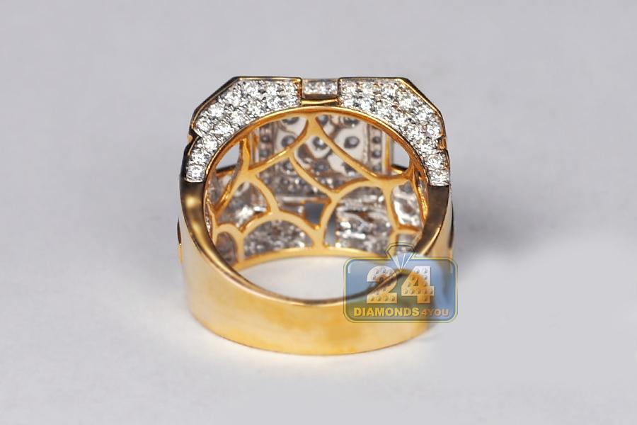 Mens Diamond Large Square Signet Ring 14k Yellow Gold 4 12 Ct