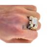 Mens Diamond Large Square Signet Ring 14K Yellow Gold 4.12 ct
