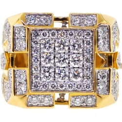 14K Yellow Gold 4.12 ct Diamond Mens Square Ring