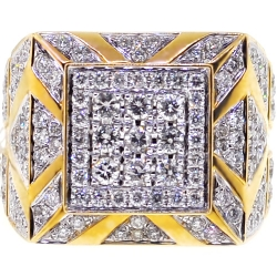 14K Yellow Gold 3.69 ct Diamond Mens Square Ring