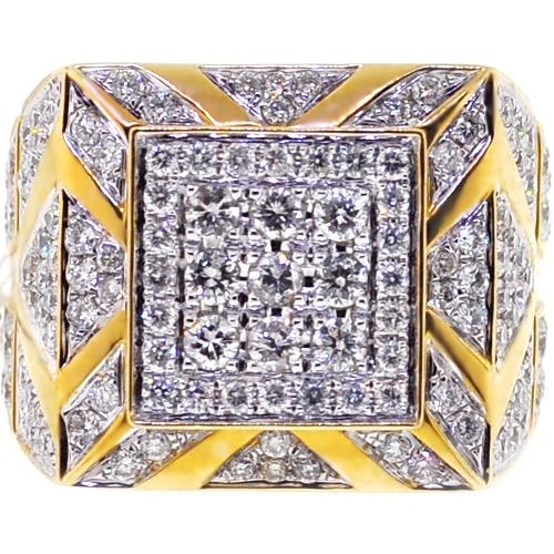 Mens Diamond Large Square Pinky Ring 14k Yellow Gold 3 69 Ct