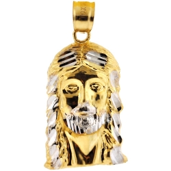 10K Yellow Gold Jesus Christ Face Head Mens Pendant 1 1/8 Inch
