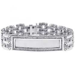 14K White Gold 2.70 ct Diamond Mens ID Name Bracelet 8 Inches