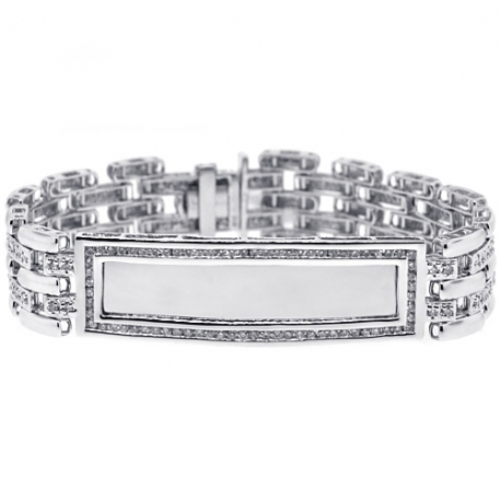 Mens Diamond ID Name Bracelet 14K White Gold 2.70 ct 8 inch