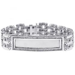 14K White Gold 2.70 ct Diamond Mens ID Name Bracelet 8 Inches