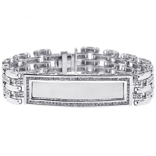 Mens Diamond ID Name Bracelet 14K White Gold 2 70 ct