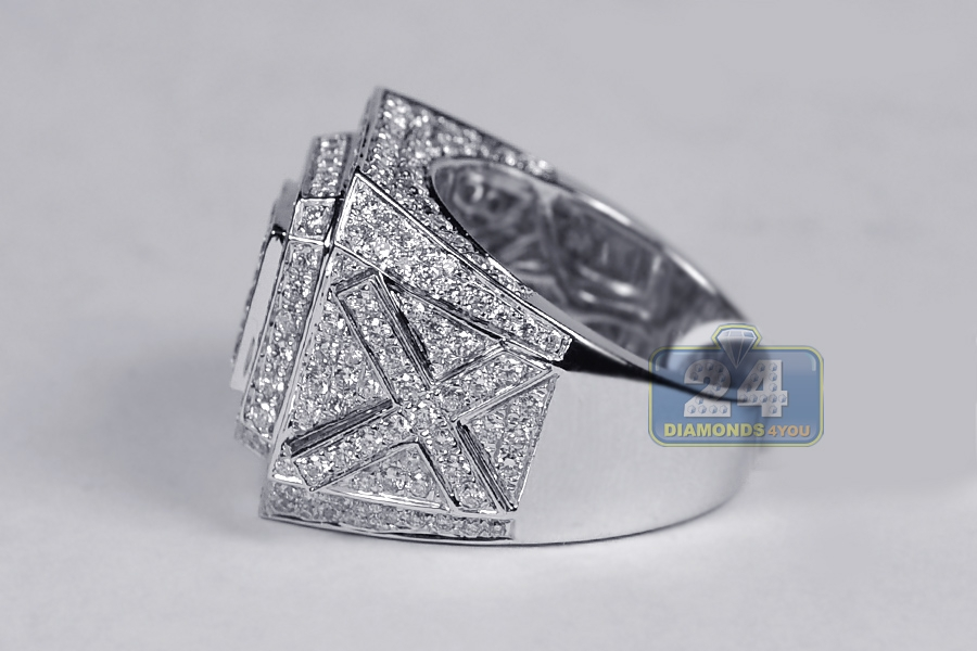 Mens Iced Out Diamond Large Square Ring 14k White Gold 4 18 Ct