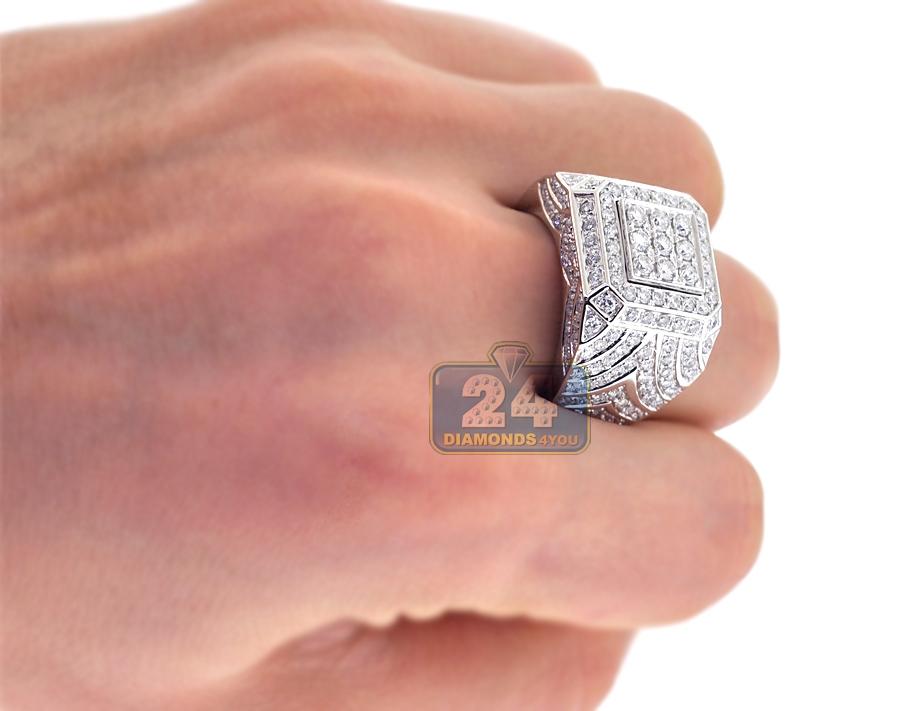 Mens Diamond Rising Square Pinky Ring 14k White Gold 3 37 Ct