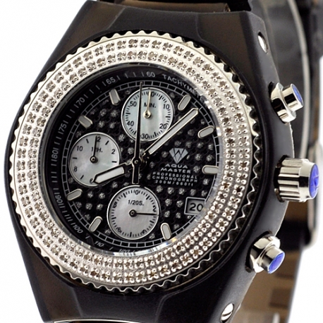 Mens Diamond Black Watch Aqua Master Sport Plastic 1.00 ct