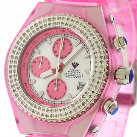 Womens Diamond Pink Watch Aqua Master Sport Plastic 1.00 ct