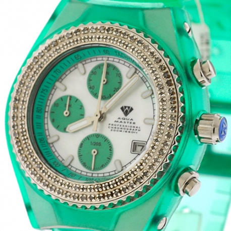 Womens Diamond Green Watch Aqua Master Sport Plastic 1.00 ct