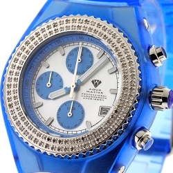 Mens Diamond Blue Watch Aqua Master Sport Plastic 1.00 ct