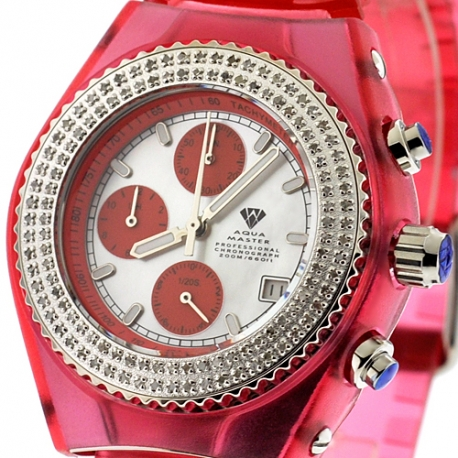 Womens Diamond Red Watch Aqua Master Sport Plastic 1.00 ct