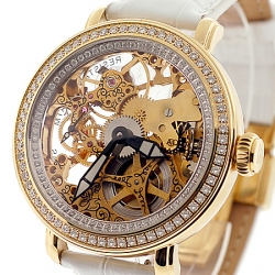 Aqua Master Automatic Skeleton 2.70 ct Diamond Mens Yellow Watch