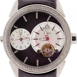 Aqua Master Two Time Zone 1.75 ct Diamond Mens Black Watch
