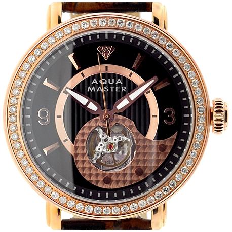 Mens Diamond Automatic Rose Gold Watch Aqua Master 2.25 ct