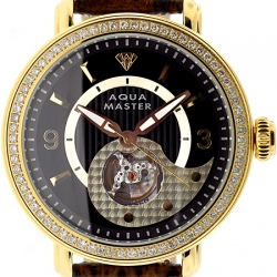 Aqua Master Automatic 2.25 ct Diamond Mens Gold Watch