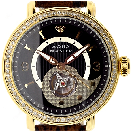 Mens Diamond Automatic Gold Watch Aqua Master 2.25 ct Black Dial