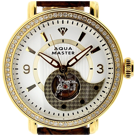 Mens Diamond Automatic Yellow Gold Watch Aqua Master 2.25 ct
