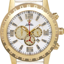 Aqua Master 0.24 ct Diamond Mens White Dial Yellow Gold Watch