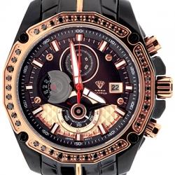 Aqua Master 1.50 ct Black Diamond Mens Two Tone Watch