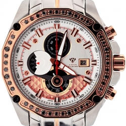 Aqua Master 1.50 ct Black Diamond Mens Rose Watch