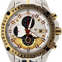 Aqua Master 1.50 ct Black Diamond Mens Yellow Gold Bezel Watch
