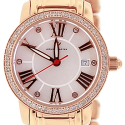 Aqua Master Round 0.65 ct Diamond Womens Rose Gold Watch