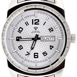 Aqua Master Day Date 0.12 ct Diamond Mens Silver Watch