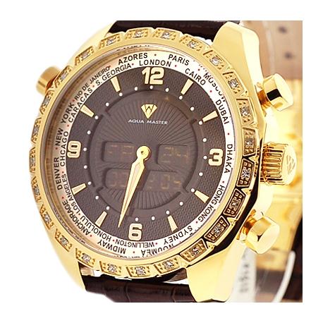 Aqua Master Digital 0.75 ct Diamond Mens Yellow Watch