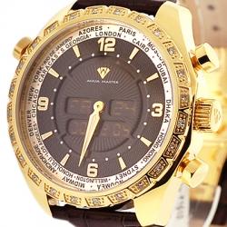 Aqua Master Digital 0.75 ct Diamond Mens Yellow Gold Steel Watch