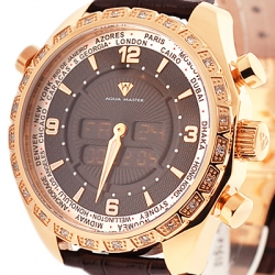 Aqua Master Digital 0.75 ct Diamond Mens Rose Watch