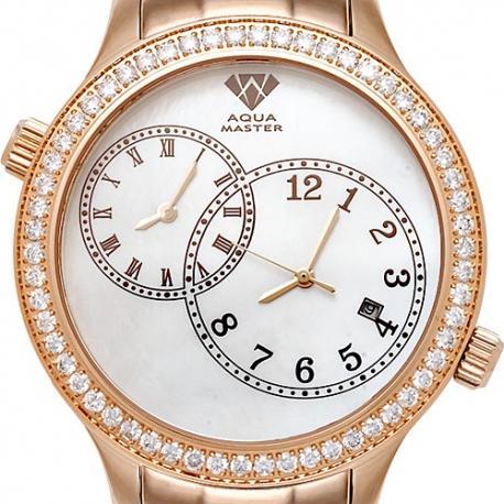 Aqua Master 2 Time Zone 2.45 ct Diamond Mens Pearl Dial Watch