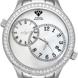 Aqua Master 2 Time Zone 2.45 ct Diamond Mens White Dial Watch