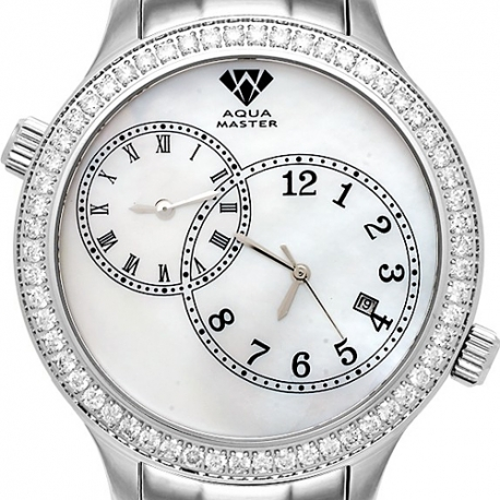 Aqua Master 2 Time Zone 2.45 ct Diamond Mens White Dial Watch